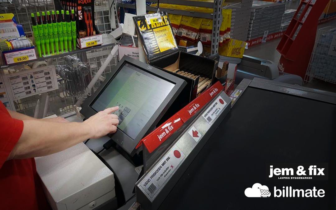 jem & fix tar hjälp av Billmate för fakturabetalning i butik
